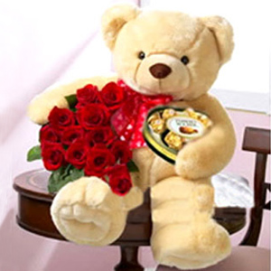 Bear Chocolate Flowers Set